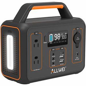 ALLWEI Portable Power Station 300W/Peak 600W Solar